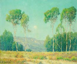 "Maurice Braun, ""Moonrise and Eucalyptus Trees"", 25 x 30 inches!"